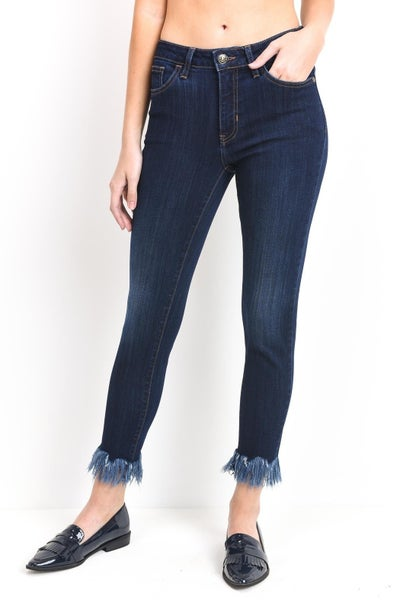 Cropped Skinny Jeans with Fringed Hem