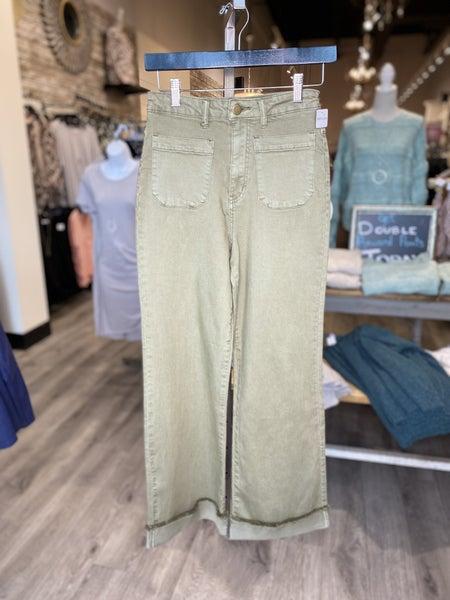 Stretch Twill Wide Leg Pants with Cuffed Frayed Hem Detail
