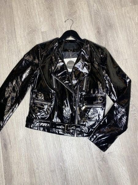 Vegan Patent Leather Moto Jacket