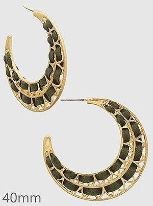 Suede Wrapped Crescent Hoop Earrings