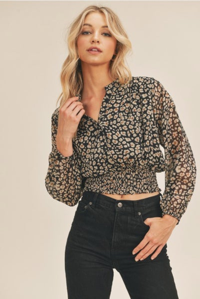 Printed Top with Smocked Waist