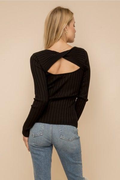 Twist Back Ribbed Sweater
