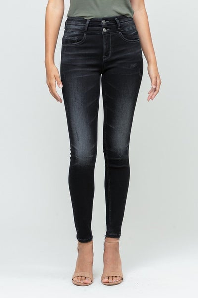 High Rise Double Button Skinny Jean