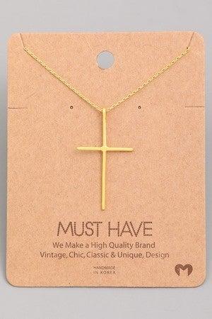 Metallic Cross Necklace
