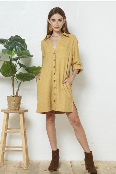 Corduroy Button Down Shirt Dress
