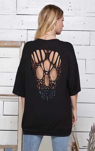 Tunic Top with Skull Laser Cut Back