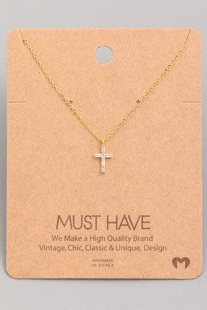 Mini Studded Cross Pendant Necklace