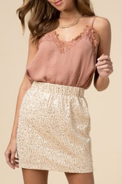 Beige Sequin Mini-Skirt *Final Sale*