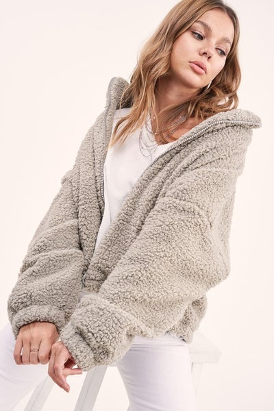 Light Grey Ever Faux Teddy Jacket
