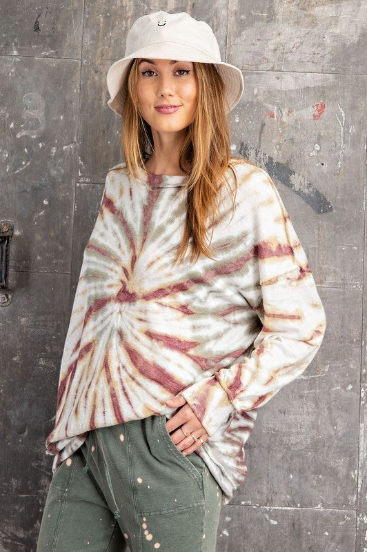 Long Sleeve Washed Banded Pullover Top