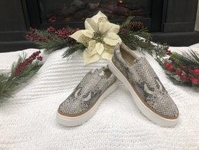 Beige Snake Slip-On Sneakers