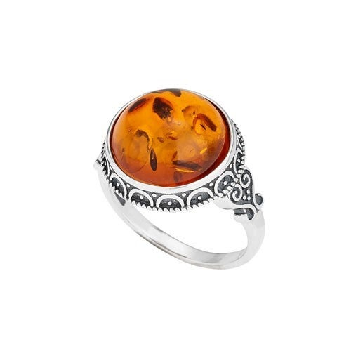 Round Amber Raised Bezel Ring