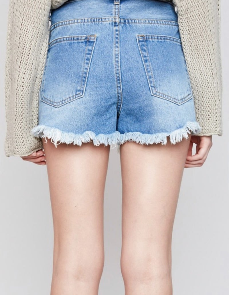Distressed Denim Shorts with Sequin Pockets *Final Sale*