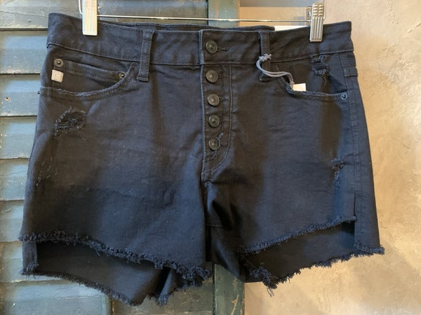 Black Button Fly Distressed Denim Shorts
