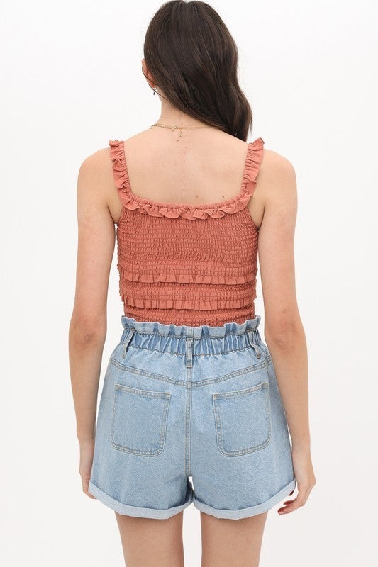 Clay Triple Layer Ruffle Tank Top
