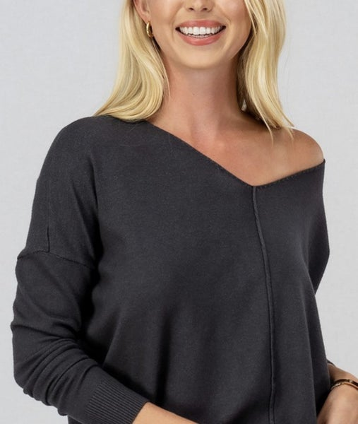 Charcoal Soft Hi-Low Tunic Sweater