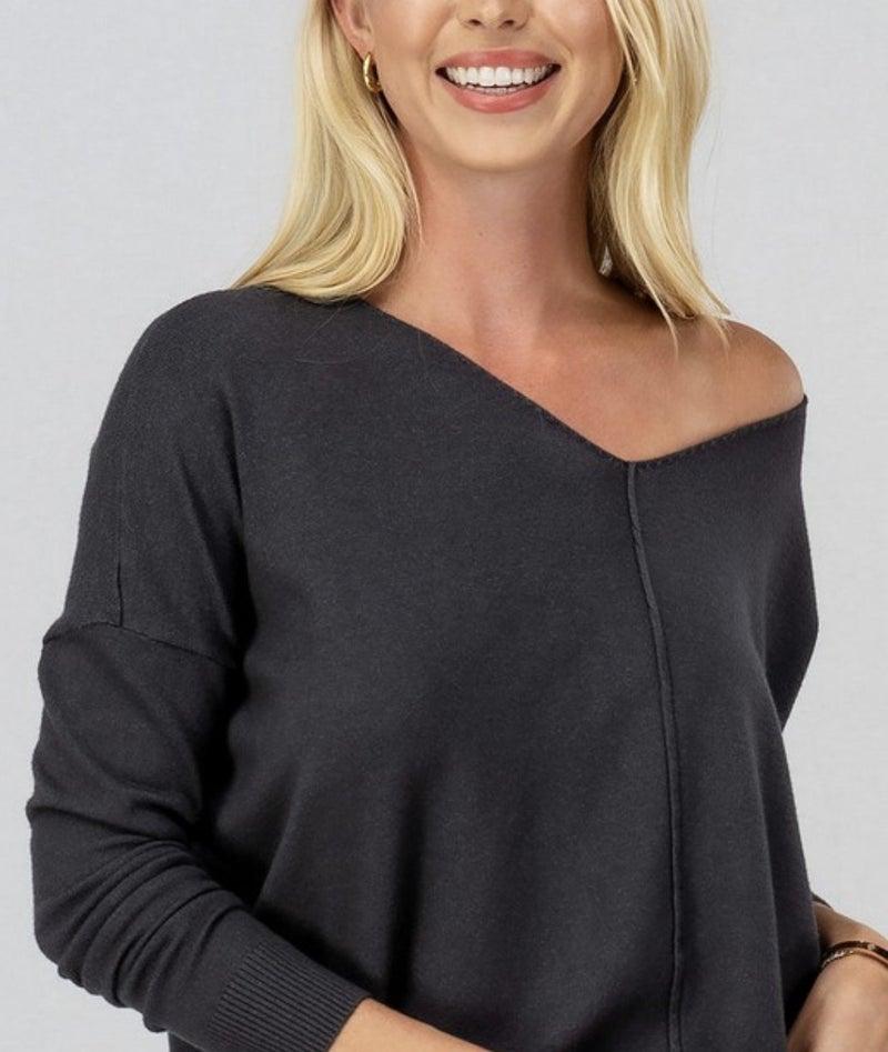 Charcoal Soft Hi-Low Tunic Sweater