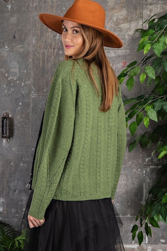 Grass Green Cropped Cardigan