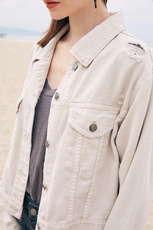 Bone Colored Denim Jacket