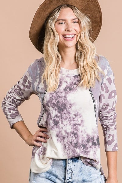 Lavender Multi Print Long Sleeve Top