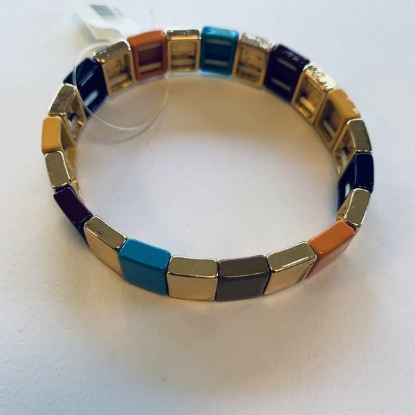 Gold & Multicolor Stretch Tile Bracelet