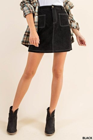 Black Suede Mini Skirt with Contrast Colored Stitch