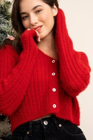 Red Cropped Cardigan *Final Sale*