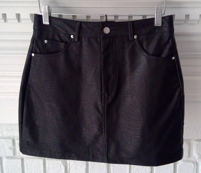 Black Vegan Leather Mini Skirt