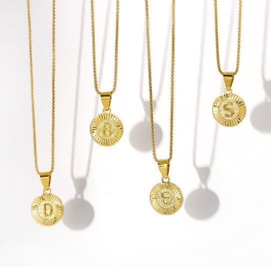 18K Gold Plated Round Initial Necklace