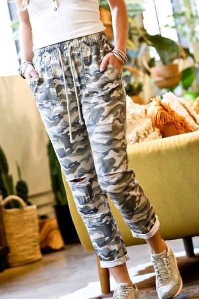 Distressed Camo Drawstring Pants
