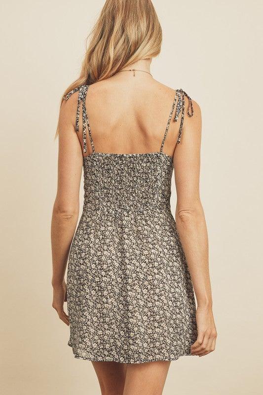 Ditsy Floral Tie-Shoulder Mini Dress