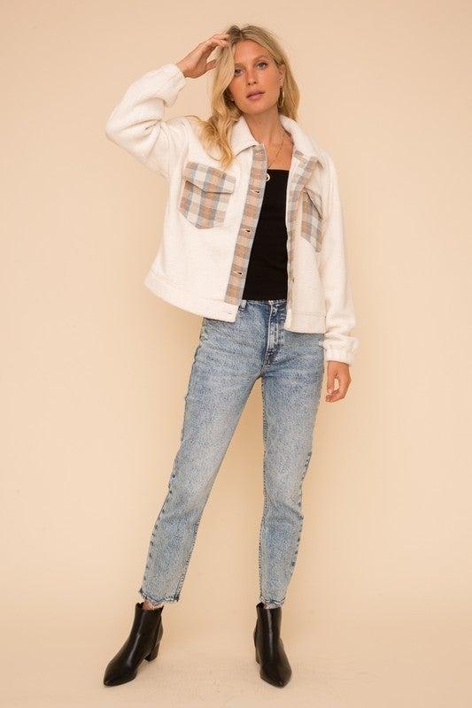Soft Fleece Plaid Detail Oversized Jacket