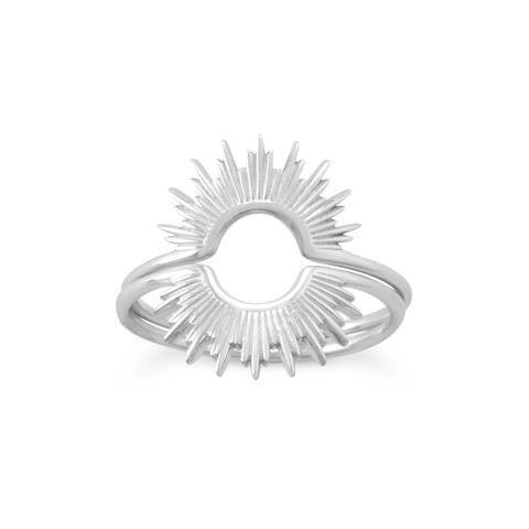 Shine On Silver Sunburst Ring - Size 6
