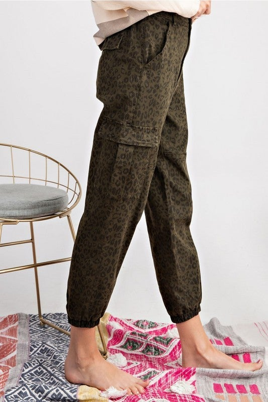 Leopard Print Cargo Pants