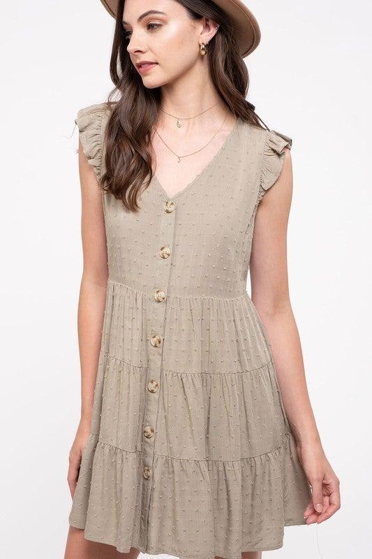 Olive Swiss-Dot Tiered Dress