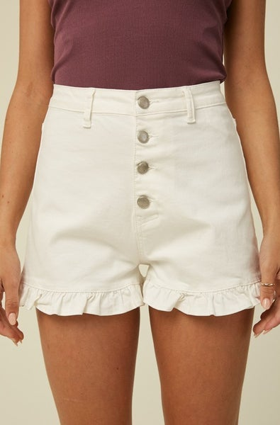 White Button Up Ruffle Shorts