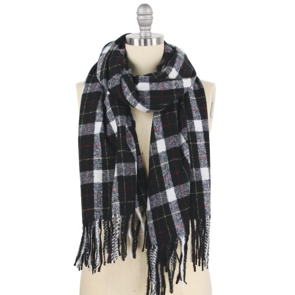 Oblong Plaid Scarf with Fringe Tassels