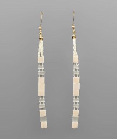 Neutral/Clear Bead Bar Drop Earrings
