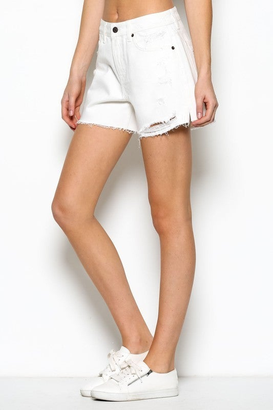 Off White Distressed Mom Shorts *Final Sale*