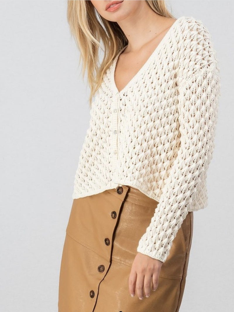 Cropped Button Up Cardigan