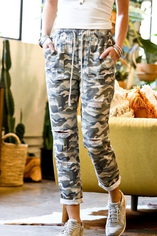 Distressed Camo Drawstring Pants