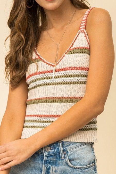Stripe Crochet Tank Top
