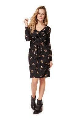Long Sleeve V-Neck Dress W/ Twist At Front *Final Sale*