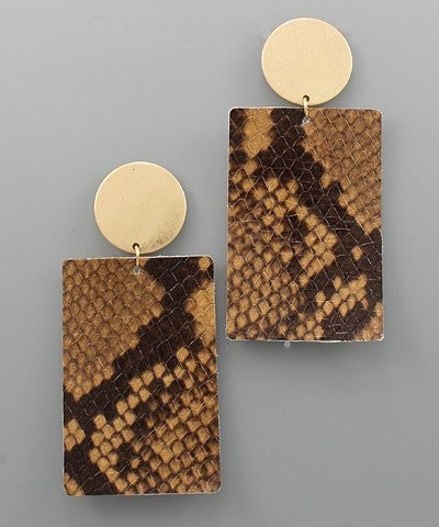 Brown Leather Rectangle & Disc Earrings