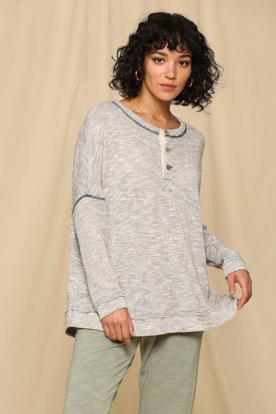 Button Mock Neck Sweater