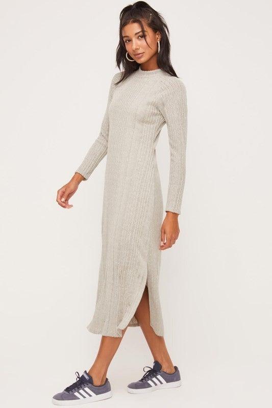 Heather Grey Mock Neckline Knit Dress *Final Sale*