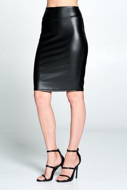 Faux Leather High Waisted Midi Skirt