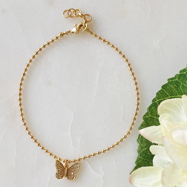 Ball Chain Butterfly Anklet