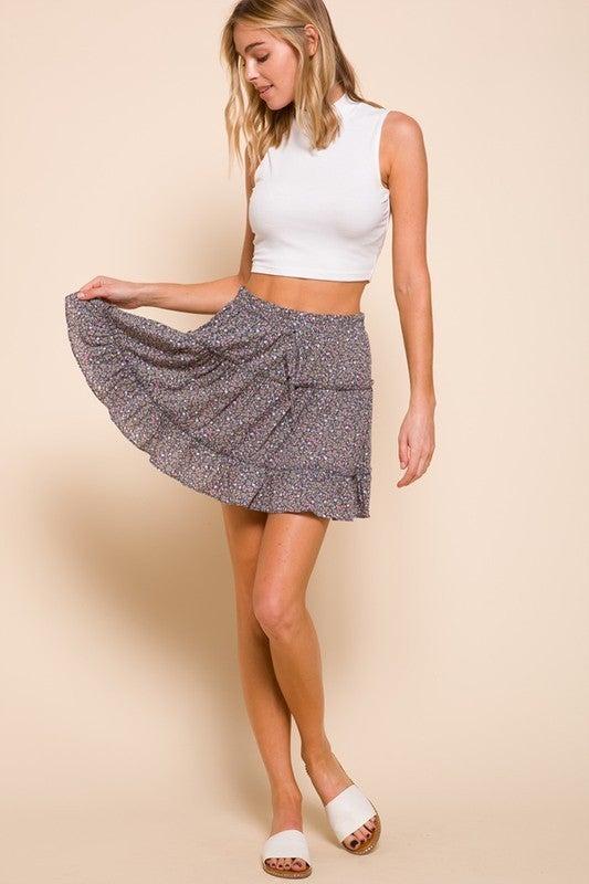 Floral Print Flowy Skirt
