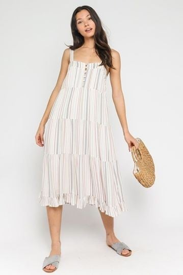 Pastel Striped Midi Dress *Final Sale*